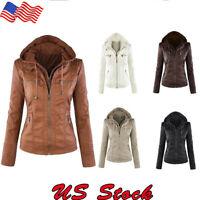 Womens Winter Outwear Parka Overcoat Ladies PU Leather Jacket Hooded Motor Coat