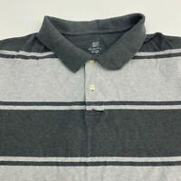 Faded Glory Polo Shirt Men's Size 3XL XXXL Short Sleeve Gray Striped Cotton
