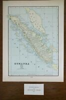 "Vintage 1903 SUMATRA INDONESIA Map 11x14"" Old Antique Original MEDAN COFFEE"