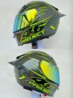 New Motorcycle Full Face Helmet Black Project 46 Green Line DOT Motorbike Helmet