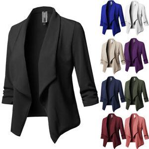 Womens Formal Work Jacket Blazer Suit Office Ladies Open Front Coat Outwear