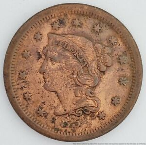 1854 US Large Cent Penny Braided Hair Bust Copper 1C Coin American 6 Point Star