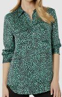 $798 Equipment Women's Slim Green Black Long-Sleeve Oversized Blouse Shirt Top M