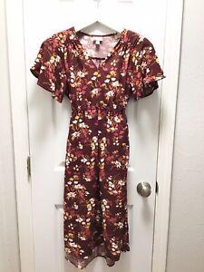 Isabel Maternity Size Medium Long Dress Floral Fall Tie Waist Short Sleeve