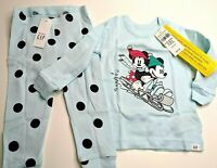 New Disney 6-12 Month Disney Minnie & Mickey Blue Long Sleeve & Pants PJ Pajamas