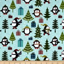 By 1/2 Yard ~ Jolly Penguin & Friends Holiday Aqua ~ Benartex Christmas Fabric