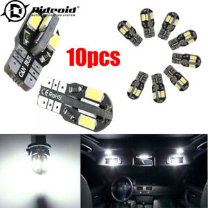 10pcs 0.09A 501 T10 Sidelight Super White Bright 8 Led Smd Bulbs DC12V