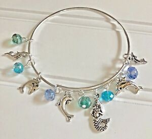 Mermaid & Dolphins Silver charm & Colors of the Ocean Expandable Bangle Bracelet
