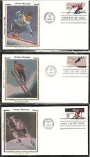 US SC # 1795-1798-1798a Winter Olympics FDC . Colorano Silk Cachet