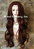 Human Hair Blend Full Lace Front Wig long Beach Wavy Auburn Red mix 25.5 ws