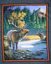 Wild Wings Fabric Panel - Mountain Sky Elk Wallhanging Block Teal Springs 34""