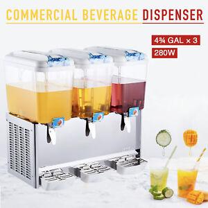 Commercial Beverage Dispenser 14.3 Gal 3 Tanks Drink Soda Iced Tea Juice Machine