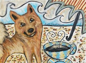 Finnish Spitz Beach Café Collectible Dog Pop Art Print 13x19 Signed Artist KSams