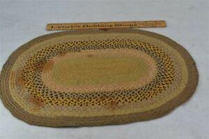 early period braided silk mat doll house rug handmade 17x12 19th c original 1800