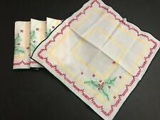 Set of 4 handmade cross stitch embroidery Christmas Napkins (Holly Leaves)