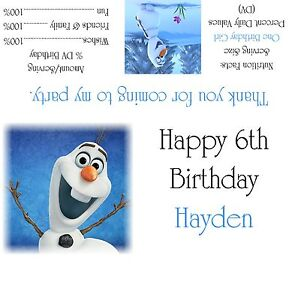 Disney's Frozen Olaf Candy Bar Wrappers/Birthday Party Favors Design #1