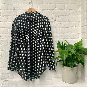 B&W Polka Dot Shirt, Men's L Size, Black, Light Cotton (NEW)
