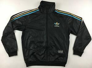 Adidas Originals Chile 62 wet look black tracksuit track jacket retro men XL
