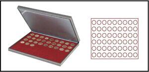 LINDNER 2364-2754E Nera M Münzkassetten Dunkelrot 54 runde Fächer 25,75 mm