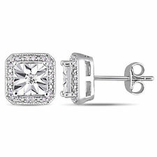 Amour Sterling Silver 1/5ct TDW Diamond Square Halo Stud Earrings