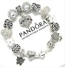 PANDORA BRACELET SILVER 925 ALE WITH WHITE MOM LOVE FAMILY HEART EUROPEAN CHARMS