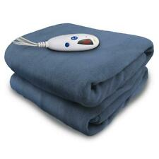 BIDDEFORD Full Heated Throw Blanket Denim Micro Plush Electric Warm Soft Bedding
