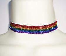 GLITTER RAINBOW STRIPE LESBIAN GAY PRIDE LGBT ELASTIC FABRIC CHOKER NECKLACE