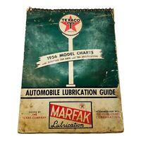 1956 Edition Texaco Model Charts Marfak Automotive Lubrication Guide European