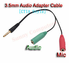 3.5mm Male to Audio Mic Female Splitter Cable For Samsung Galaxy Y Duos Alpha AU
