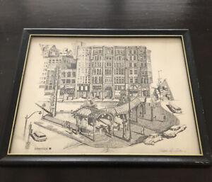Vintage Christopher Paul Bollen Print Pioneer Square Seattle