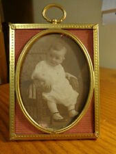 New ListingVintage Brass Picture Frame with Vintage Photo of Baby 3 1/2 x 4 1/2