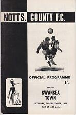 NOTTS COUNTY v SWANSEA TOWN ~ 21 SEPTEMBER 1968 ~  FOOTBALL PROGRAMME