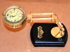 Vintage Brass folding Clock desk top wooden base collectible watch decorative