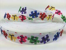 """BTY Printed 7/8"""" Nice Autism Grosgrain Ribbon Hair Bows Lisa"""