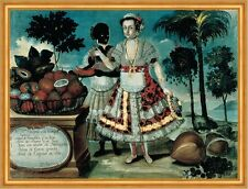 Spanish Lady with her black woman Slave vicente Alban esclava adel B a2 03270