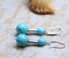 Round Howlite gemstone inTurquoise blue earrings elegant ear hooks Handmade new