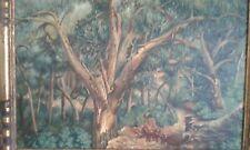 """tableau ancien huile sur toile """"chemin de forêt """" signé.  XXème"""