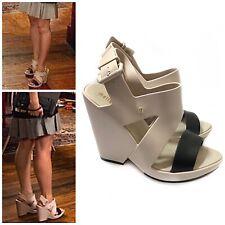 Melissa 7 Nude Flip Wedge Heels Peep Ankle Strap Two Tone Black $155