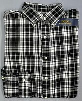 NWT $125 Polo Ralph Lauren Shirt Mens Long Sleeve Black White Plaid Button NEW