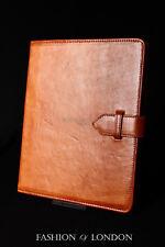 IPad 2 3 & 4 (TAN Lavato Pelle D'Agnello) Genuine Vera Pelle Cover Custodia Supporto Folio