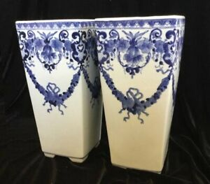 Two (2) TWIN 12'' TALL White & Blue Large Floral Decorated Vases SQUARE Opening