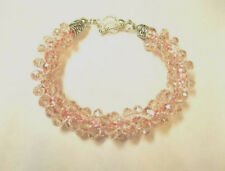 1 Bracelet with Pink Crystals  Made with Kumihimo