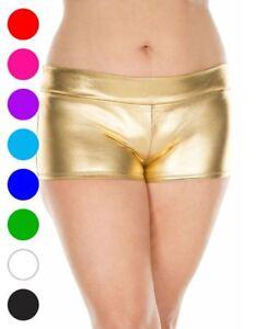 Plus Size Banded Metallic Shorts - Music Legs 141Q