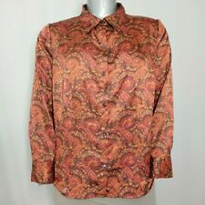 Jaclyn Smith Top 18W Womens Orange Red Silky Paisley Button Collar Dress Blouse