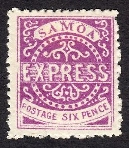 """Samoa: 6d bright violet Express; """"x repaired""""; mounted mint; SG17"""