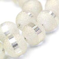 100 Galvanisierte 6mm Glasperlen Weiß Matt mit Silber plattiert 1 Strang R376