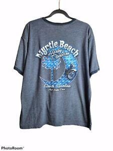 Harley Davidson Men's Size L 2014 Blue South Carolina Motorcycle Print T-shirt