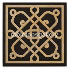 "18"" Square Black Marble Center Coffee Table Top Handmade Design Patio Decor B124"