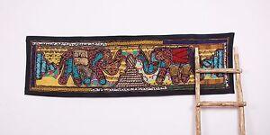 Asian Antique Hippie Zari Handmade Runner Wall Hanging