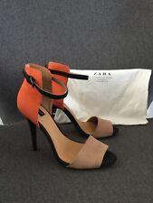 ZARA COLLECTION High Heels Peeptoes Riemchen Pumps 37 braun orange Trends